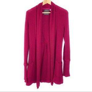 Guinevere Knit Open Front Cardigan Sweater in Pink